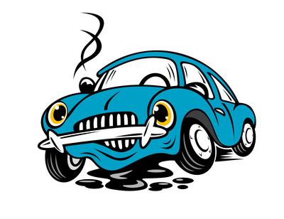 Broken car in cartoon style for repair or service concept